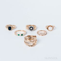 Six 14kt Gold Rings