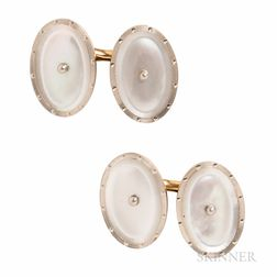 Edwardian Larter & Sons 14kt Gold and Mother-of-pearl Cuff Links