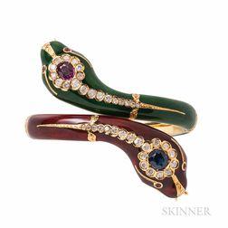 18kt Gold and Enamel Gem-set Snake Bracelet