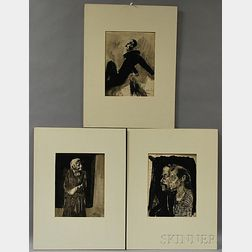 Johann Robert Schürch (Swiss, 1895-1941)      Three Figural Ink Drawings: Couple in Profile, Standing Woman with Clasped