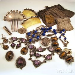 Group of Mostly Victorian Silver Jewelry and Accessories