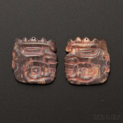 Pair of Chavin-Cupisnique Carved Stone Ear Ornaments