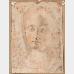 Italian School, 17th Century      Portrait Sketch: Head of the Madonna