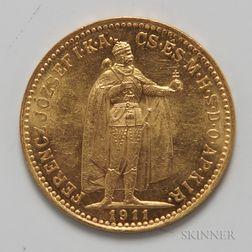 1911 Hungarian 10 Korona Gold Coin.     Estimate $100-200