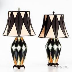 Pair of Art Deco Ceramic Table Lamps