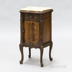 Louis XV-style Carved and Inlaid Walnut Veneer Stone-top Stand