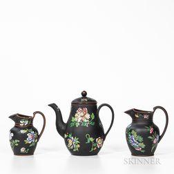 Three Pieces of Wedgwood Enameled Black Basalt Tableware