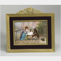 French Enamel Plaque of a Courting Couple