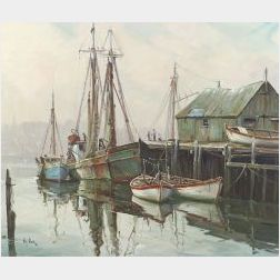 Otis Cook (American, 1900-1980)  Harbor View, Early Morning