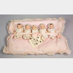 Madame Alexander Dionne Quintuplet Babies on Original Pillow-bed