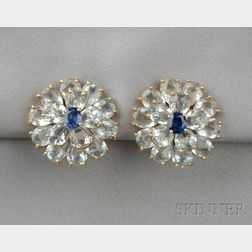18kt Gold, Aquamarine, and Sapphire Earclips