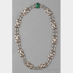 Sterling Silver and Green Onyx Necklace, George Jensen