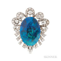 Black Opal and Diamond Brooch
