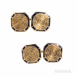 Edwardian Larter & Sons 14kt Gold and Enamel Cuff Links