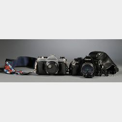 Canon A-1 and Pentax K-1000 35mm Cameras