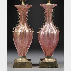 Pair of Venetian Glass Lamp Bases