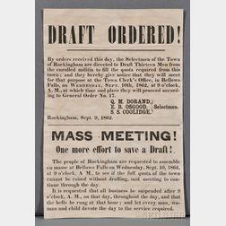 Civil War Draft Notice Broadside, Rockingham, Vermont (1862).