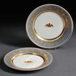 Two Russian Imperial Porcelain Factory Dinner Plates from the Ropsha Palace Service