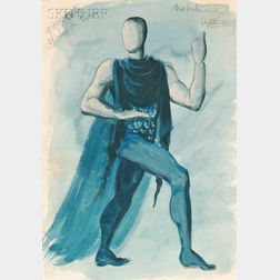 Hugh Stevenson (British, 1910-1956)      Costume Design for Anthony Tudor as Neptune   in The Planets