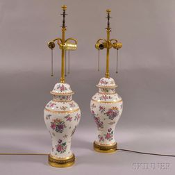 Pair of Samson Floral-decorated Baluster-form Covered Vases