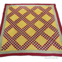 "Pieced Cotton ""Double Irish Chain"" Quilt and an Overshot Coverlet"