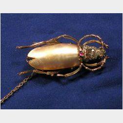 Antique Gem-set Insect Brooch
