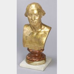 Gilded Redware Bust of George Washington
