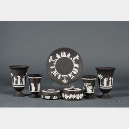 Seven Modern Wedgwood Solid Black Jasper Items