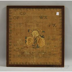 Framed 1839 Mary Babrow Needlework Sampler