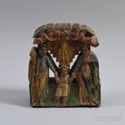 Polychrome Painted Wooden Religious Carving of the Holy Family