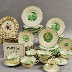 Partial Set of Wedgwood Green Torbay-pattern Dinnerware