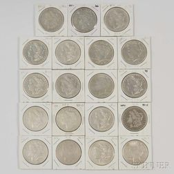 Nineteen Morgan and Peace Dollars