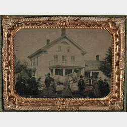 Quarter-plate Tintype Depicting People Posing with a Horse-drawn Carriage in Front of a House