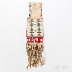 Plains Beaded Hide and Quill Pipe Bag