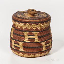 Northern California Twined Lidded Basket