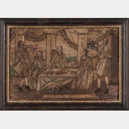 Needlework Picture of an Elegant Social Scene