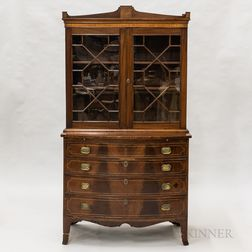 Federal Glazed and Inlaid Mahogany Secretary