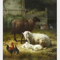 Theo van Sluys (Belgian, 1849-1931)  Inside the Barn