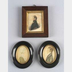 American School, 19th Century  Three Miniature Portraits.