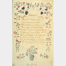 Anna Livermore (American, 19th Century)    An Illustrated Poem Entitled Amusement.