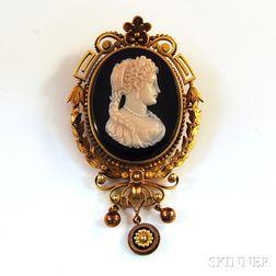 14kt Gold-framed Onyx Portrait Cameo Pendant/Brooch