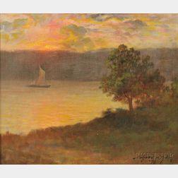 Bayard Henry Tyler (American, 1855-1931)    Sailboat at Sunset