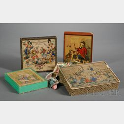 Four Victorian Lithographed Boxed Jigsaw Puzzles and Games