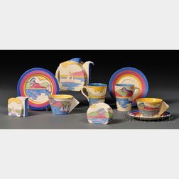 Eight-piece Clarice Cliff Fantasque Bizarre Ware Partial Tea Set