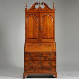 Chippendale-style Tiger Maple Desk and Bookcase
