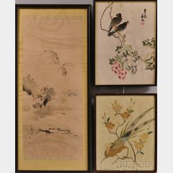 Two Chinese Embroidered Panels and a Japanese Landscape Painting