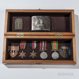 Identified British Medals, Patches, and Cigarette Case