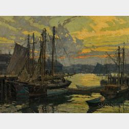 Frederick John Mulhaupt (American, 1871-1938)      Harbor View at Sunset