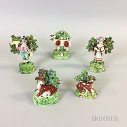 Five Staffordshire Ceramic Bocage Figures