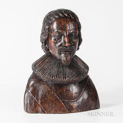 Carved Oak Bust of an English Gentleman